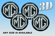 MG Domed decals stickers for wheel center caps ::Silver logo/black background::