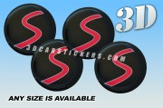 MINI Cooper S 3d car stickers for wheel center caps :: Red logo/black background::