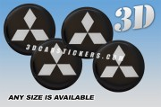 MITSUBISHI 3d car stickers for wheel center caps :: Silver logo/black background::