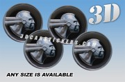 PONTIAC INDIAN HEAD 3d car stickers for wheel center caps :: Silver logo/black background::