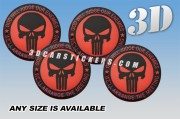 PUNISHER 3d car stickers for wheel center caps :: Black logo/red/black background::