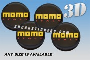 MOMO ITALY 3D decals for wheel center caps :: Yellow /red logo/black background::
