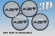 AZEV 3d car stickers for wheel center caps :: Black logo/silver background::