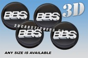 BBS 3d car stickers for wheel center caps ::Silver logo/black background::