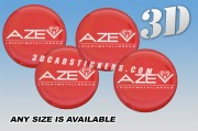 AZEV 3d car stickers for wheel center caps :: Silver logo/red background::