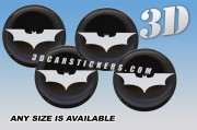 BAT 3d car stickers for wheel center caps ::Silver logo/black background::