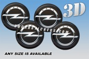 Opel 3d car stickers for wheel center caps ::Silver logo/black background::