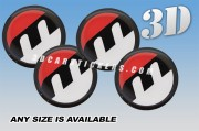 MOSER 3d car stickers for wheel center caps ::Black logo/red/white background::
