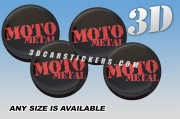 MOTO METAL 3d car stickers for wheel center caps :: Red logo/black background::