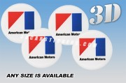 AMERICAN MOTORS 3d car wheel center cap emblems stickers  :: Black/Red/Blue logo/white background::