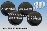 AMG 3d car wheel center cap emblems stickers  :: Silver logo/black background::