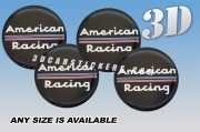 AMERICAN RACING 3d car wheel center cap emblems stickers  :: White logo/red-blue lines/black background::