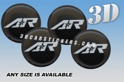 AMERICAN RACING 3d car wheel center cap emblems stickers  :: Silver logo AR/black background::