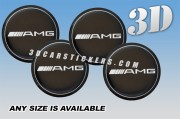 AMG 3d car wheel center cap emblems stickers  :: Silver logo/silver outline/black background::