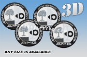 AMG AFFALTERBACH 3d car wheel center cap emblems stickers  :: Silver logo/black background::