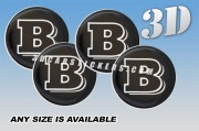 BRABUS 3d car wheel center cap emblems stickers decals  :: White logo/black background ::