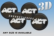 ACT 3d car wheel center cap emblems stickers decals  :: Silver logo/black background ::