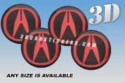 ACURA 3d car wheel center cap emblems stickers decals  :: Red logo/black background ::