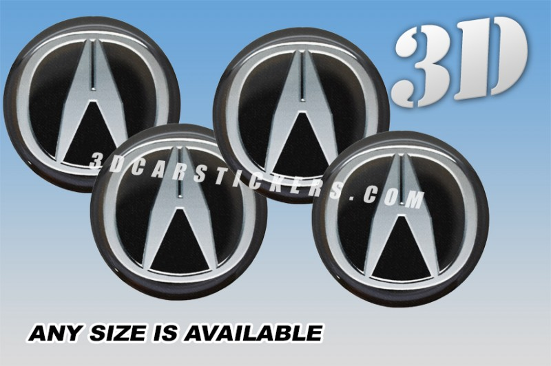 ACURA D Car Wheel Center Cap Emblems Stickers Decals Silver Logo - Acura stickers