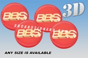 BBS 3d car wheel center cap emblems stickers decals  :: Gold logo/red background ::