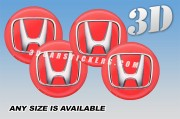 HONDA 3d car wheel center cap emblems stickers decals  :: Silver logo/red background ::