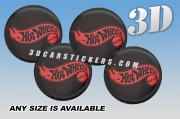 HOT WHEELS 3d car wheel center cap emblems stickers decals  :: Red logo/black background ::
