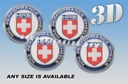 HRE 3d car wheel center cap emblems stickers decals  :: Red/Blue/Silver logo/white background ::