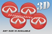 INFINITI 3d car wheel center cap emblems stickers decals  :: Silver logo/red background ::