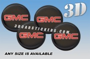 GMC 3d car wheel center cap emblems stickers decals  :: Red logo/White outline/Black background ::