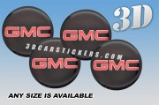 GMC 3d car wheel center cap emblems stickers decals  :: Red logo/Silver outline/Black background ::