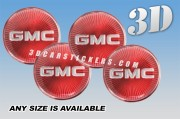 GMC 3d car wheel center cap emblems stickers decals  :: Silver logo/Red burst background ::