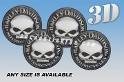 HARLEY-DAVIDSON 3d car wheel center cap emblems stickers decals  :: Silver Scull logo/black background ::