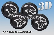 DODGE HELLCAT 3d car wheel center cap emblems stickers decals  :: White logo/black background ::