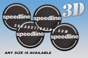 SPEEDLINE 3d car wheel center cap emblems stickers decals  :: Silver logo/black background ::