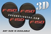 FORD F-150 3d car wheel center cap emblems stickers decals  :: Red logo/black background ::
