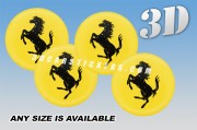 FERARRI 3d car wheel center cap emblems stickers decals  :: Black horse/yellow background ::