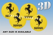 FERARRI 3d car wheel center cap emblems stickers decals  :: Black horse and writing/yellow background ::