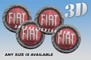 FIAT OLD LOGO 3d car wheel center cap emblems stickers decals  :: White/Red /Brown logo ::