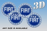 FIAT 3d car wheel center cap emblems stickers decals  :: Blue logo/White background ::