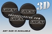 FIAT 3d car wheel center cap emblems stickers decals  :: White logo/black background ::
