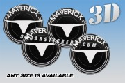 FORD MAVERICK 3d car wheel center cap emblems stickers decals  :: White logo/black background ::