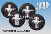 MUSTANG TRIBAR 3d car wheel center cap emblems stickers decals  :: Red/White/Blue/black background ::