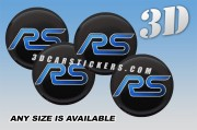 FORD RS 3d car wheel center cap emblems stickers decals  :: Blue logo/black background ::