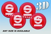 SPARCO 3d car wheel center cap emblems stickers decals  :: White logo/red background ::