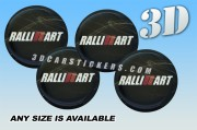RALLIART 3d car wheel center cap emblems stickers decals  :: White/Red logo/black background ::