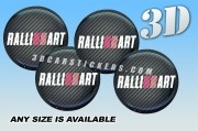 RALLIART 3d car wheel center cap emblems stickers decals  :: White/Red logo/carbon background ::