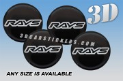 RAYS 3d car wheel center cap emblems stickers decals  :: Silver logo/black background ::