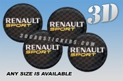 RENAULT SPORT 3d car wheel center cap emblems stickers decals  :: Silver logo/black background ::