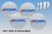 RONAL 3d car wheel center cap emblems stickers decals  :: Red/Blue logo/silver background ::