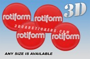 ROTIFORM 3d car wheel center cap emblems stickers decals  :: Silver logo/red background ::